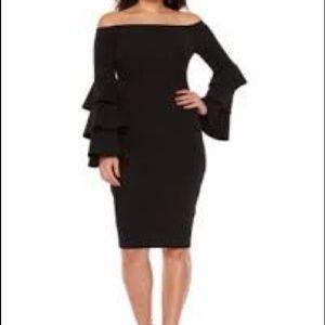 Dresses & Skirts - Black Sleeve Off The Shoulder Sheath Dress